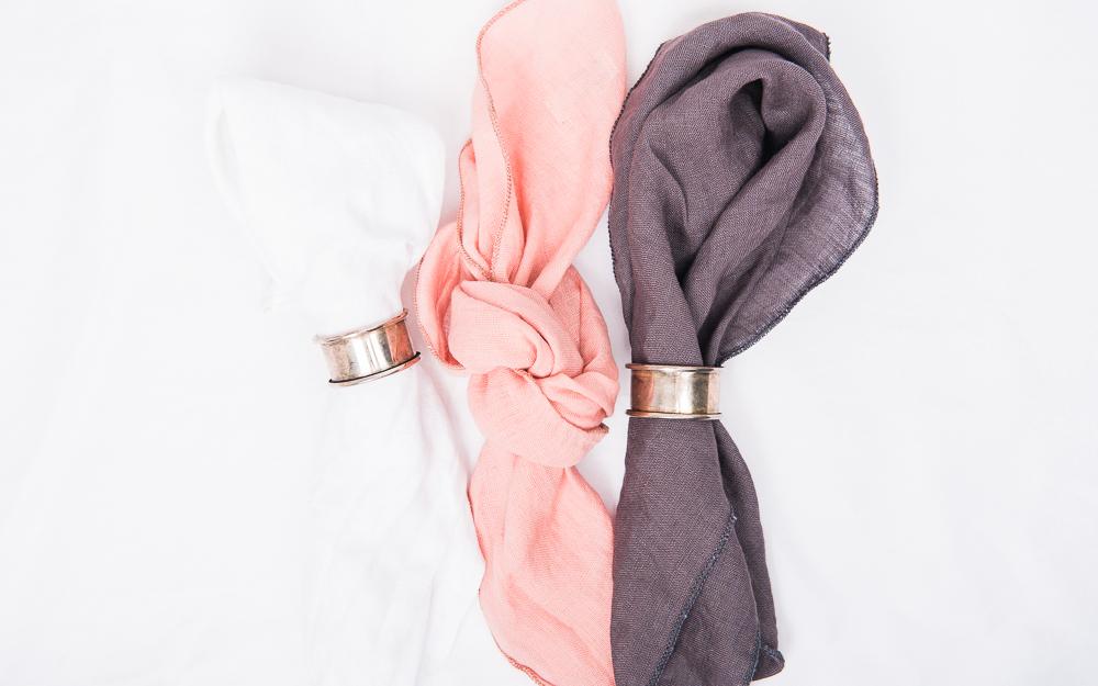 linneservetter rosa, grå och vita